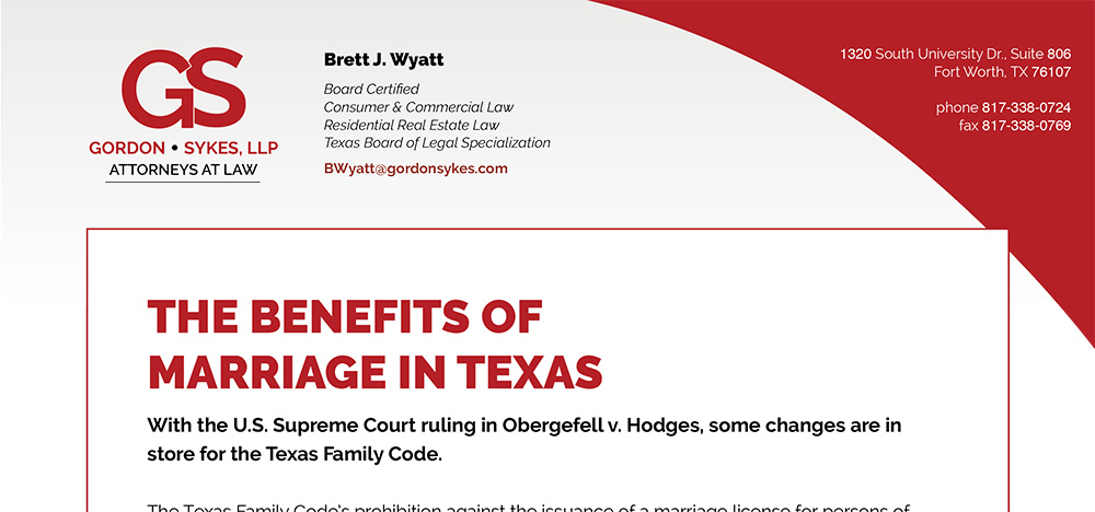 Gordon&Sykes Benefits of Marriage in Texas