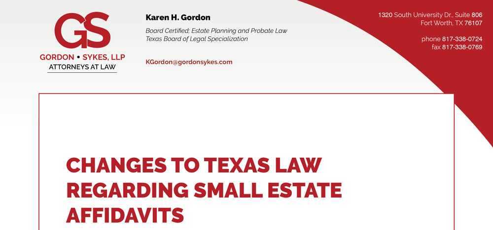 changes to texas law regarding small estate affidavits